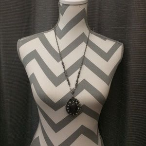 Jewelry - Silver tone and Black Victorian Styled Pendant